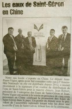L'eau de Saint-Géron s'exporte en Chine