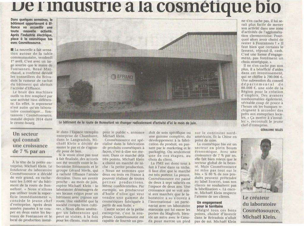 Cosmetosource s'installe dans les anciens locaux de l'usine Effiance.